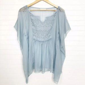 4 Love and Liberty Blue Silk Kimono Top XS -flaw